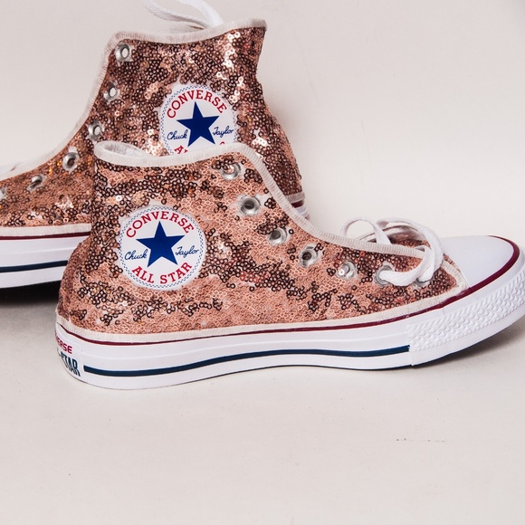 78306ee85a0976 Rose Gold Sequin Converse Hi Top Sneakers